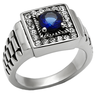 Stainless Steel Men's Ring simulated Blue Sapphire & fine crystals