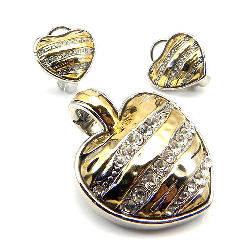 Bali Designer Inspired 2-Tone Pave Crystals Hammered Heart & Earring 2 PC Set