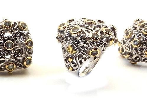 International Designer Inspired 2-Tone & CZ Ring 6-7-8