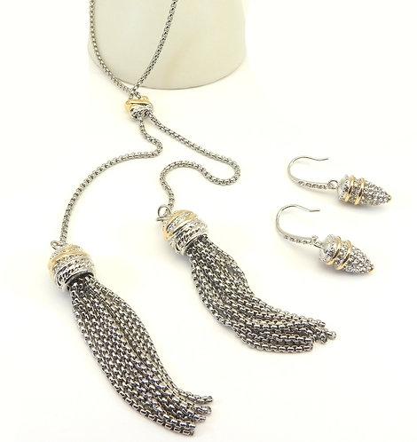 "Designer Inspired 2-Tone 26"" Necklace Micro-Pave-Tassel & Earring Set"