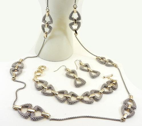 "Designer Inspired 36"" Caviar Texture Links 2-Tone Necklace-Bracelet-Earring"