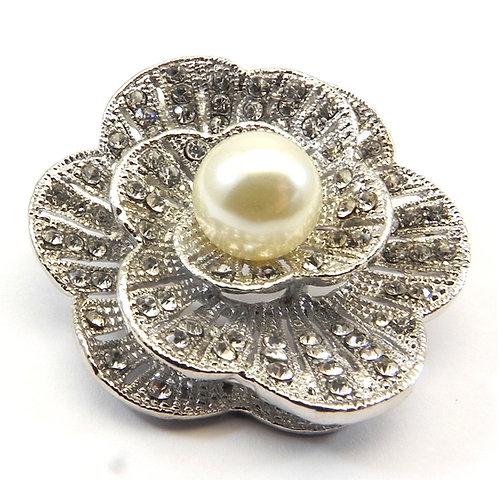 Elegant Silver Tone Faux Pearl & Austrian Crystals Brooch