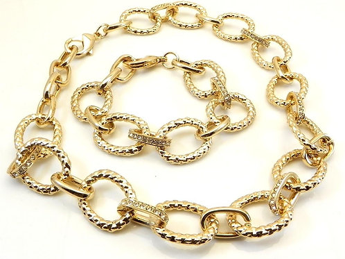 Cable Designer Inspired Gold-Tone Necklace and Bracelet Set