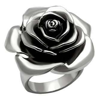 Sculpted Blooming Rose Bold Stainless Steel Statement Ring Women's Size 5-10