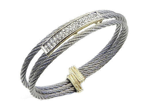 Cable Designer Inspire Rhodium & Pave Crystals Stainless Steel Bracelet