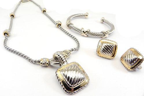 Cable Designer Inspired 2-Tone Chain, Square Pendant, 3X Bracelet Earring Set