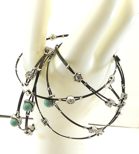 Designer Inspired 2-Tone  Stainless Steel Faux Turquoise Crystals  Bangle Set
