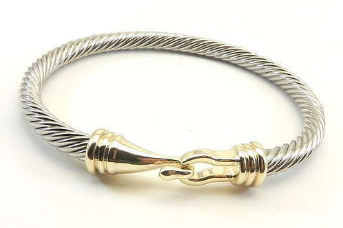 Classic Cable Designer Inspired  2-Tone Hook 3.8 MM Cable Bracelet