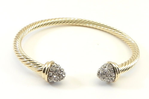 Classic Cable Designer Inspired  Gold-Tone Cuff 3.9 MM Cable Bracelet