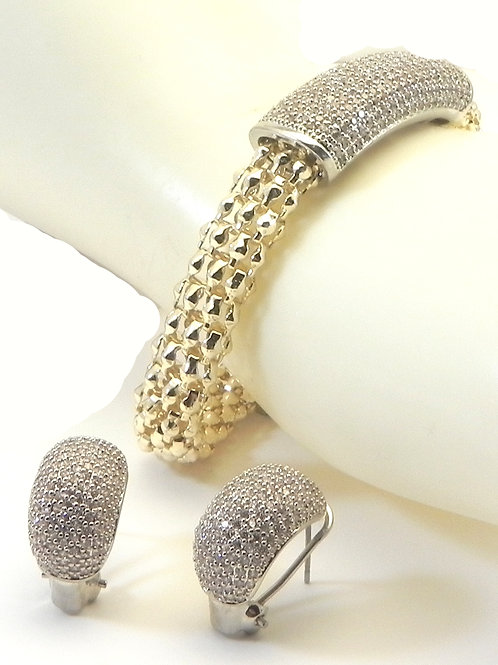 International Designer Inspired 2-tone Pave Bracelet and Earring Set