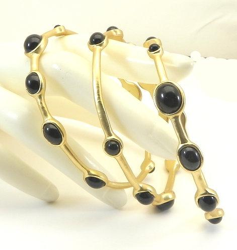 Designer Inspired Gold-tone Black Onyx Stations Bangle Bracelet Set