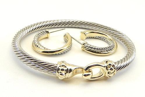 Cable Designer Inspired 2-Tone Hook Style Bracelet & Hoop Earring Set