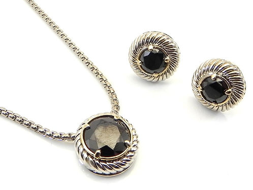 Cable Designer Inspired 2-Tone Round Black CZ Chain, Pendant and Earring  Set