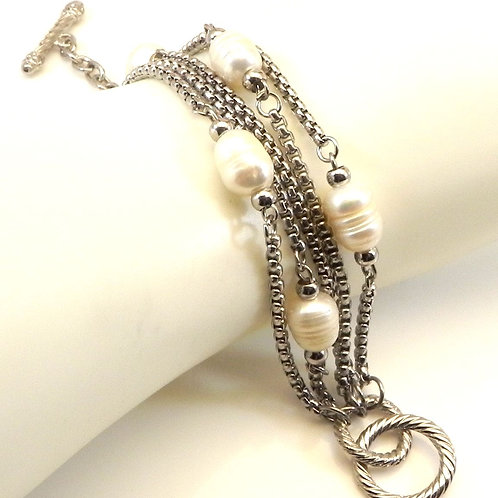 Cable Designer Inspired 2-Tone Multi- Strand Chain Simulated Pearls Bracelet