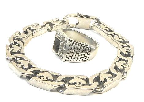 Unisex Stainless Steel Link Bracelet &Classic Pave-Jet Rectangle CZ Ring Set