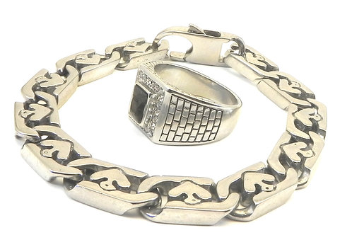 Unisex Stainless Steel Link Bracelet &Classic Pave-Jet Rectangle CZ Ring Set