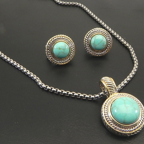 "Designer Inspired 2-Tone Simulated Turquoise Pendant- Earring-18"" Chain"