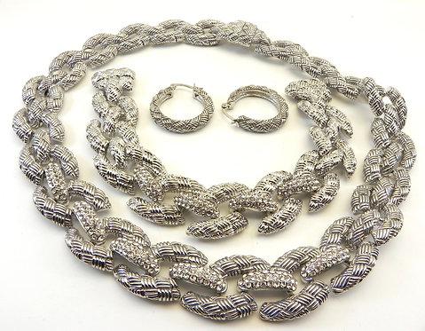 Parisian Designer Inspired Silver-Tone Pave Links Ctr Necklace-Bracelet-Earring