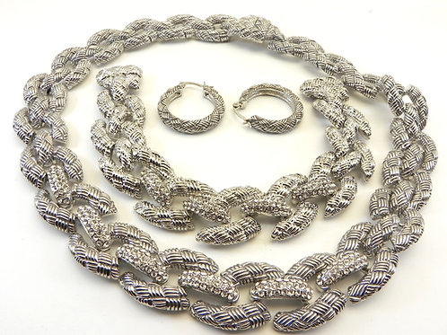 Parisian Designer Inspired Silver-Tone Pave Links Ctr Necklace-Bracelet-Earring
