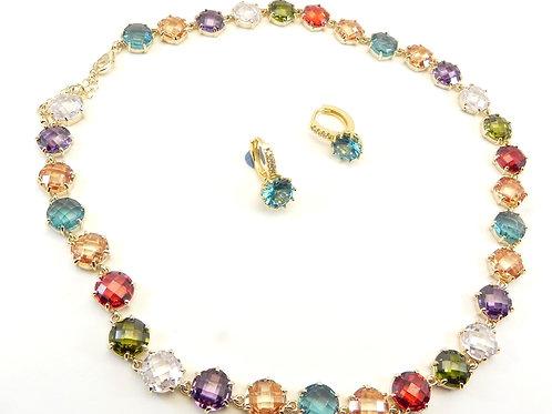 Rich & Delicate Designer Inspired Gold-Tone Round  Multi-Color CZ Necklace & Ear