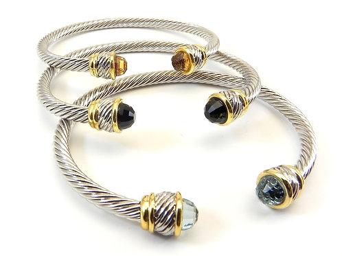 Stacking 4. mm 2-Tone Cable Designer Bracelet CZ Tips 3 Colors
