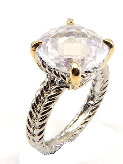 Cable Designer Inspired 2-Tone Square Cut Clear CZ Ring 6-7-8