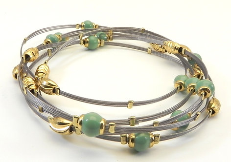 Designer Inspired Stainless Steel Turquoise Bead Accent Bangle Set
