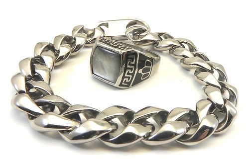 Unisex Stainless Steel Link Bracelet & Classic MOP Square Greek Key Ring Set