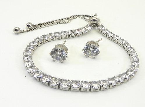 Designer Inspired Silver-tone Adjustable CZ Bracelet/Earring Set