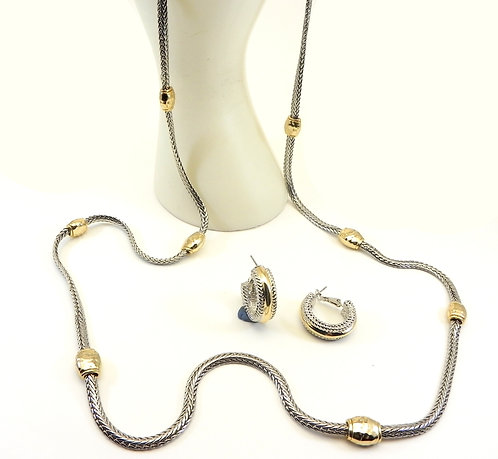 """Bali Designer Inspired 2-Tone Foxtail Chain  34"""" Long Necklace-Hoop Earring Set"""