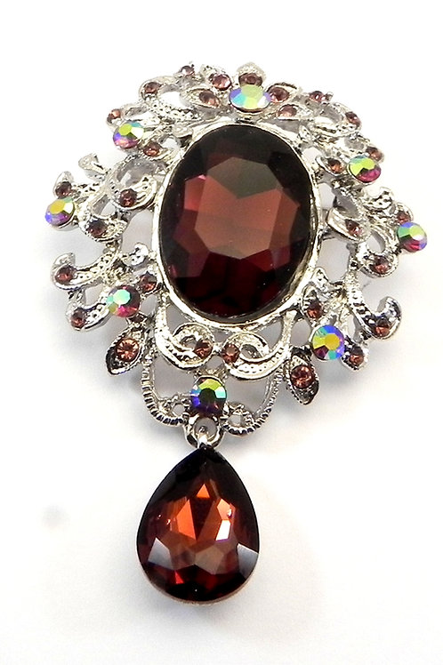 Fabulous Vintage Inspired Silver-Tone Smoky Topaz Crystals & Dangle Drop Brooch