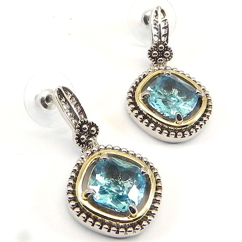 Cable Designer Inspired 2-Tone Sea Blue CZ Earring
