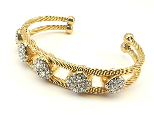 Classic Designer Inspired  Gold-Tone Cuff 12.6 MM Cable Bracelet with Pave