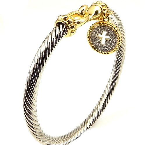 Cable Designer Inspired  2-Tone Hook &  Pave Circle Religious Cross Bracelet