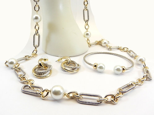Cable Designer Inspired 2-Tone Simulated Pearl Necklace, Bracelet& Earring Set,
