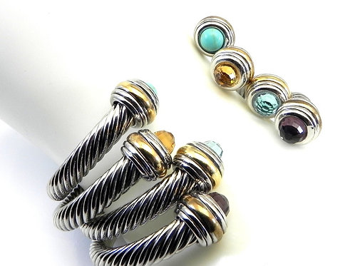 Classic Cable Inspired 2-Tone CZ Stainless Steel Bracelet 4 Colors