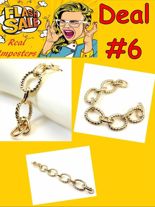 International Designer Inspired Gold-Tone Links & Pave Crystals Bracelet
