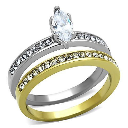 Stainless Steel Bridal Set Engagement Ring- Marquise & Channel Set CZ's Sz 5-10