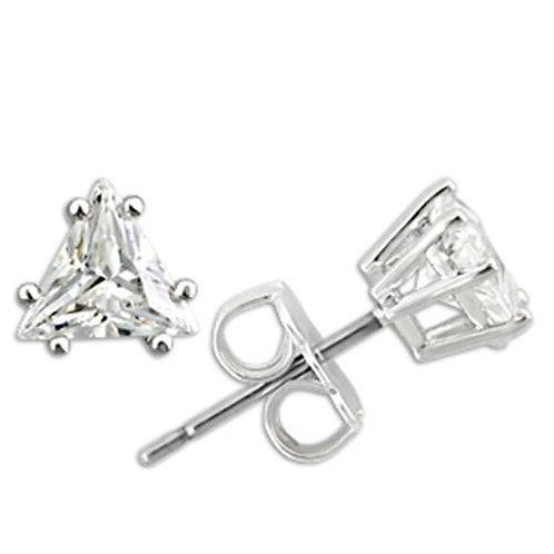 6 MM .70 Carat Per Side CZ Trillion Shape Sterling Silver Stud Earring