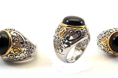 Bali Designer Inspired 2-Tone & Simulated Onyx Ring 6-7-8