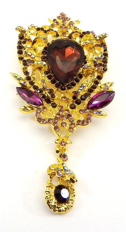 Vintage Inspired Gold-Tone Amethyst Crystals & Dangle Drop Brooch