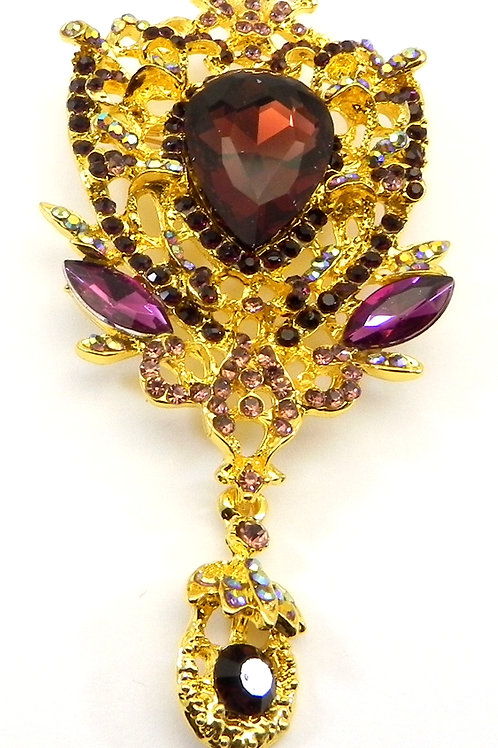 Vintage Inspired Gold-Tone Amethyst Crystals & Dangle Drop Brooch