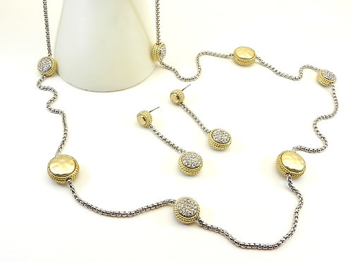 """Bali Designer Inspired 2-Tone-Matte Pave Stations 35"""" Necklace-Dangle Earring"""