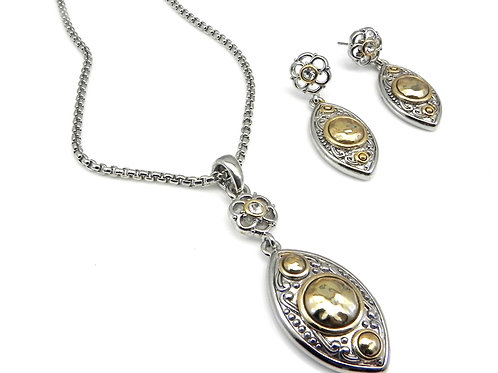 Bali Designer Inspired 2-Tone Chain, Earring & Slider 3 Piece Set
