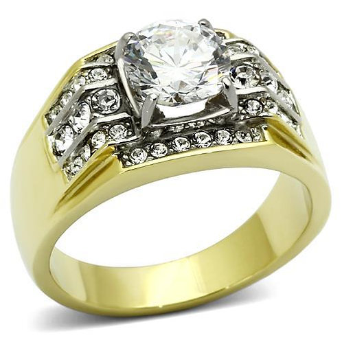 18kt Gold IP Stainless Steel Round Cut & Pave CZ's Fashion Men's Ring Size 8-13