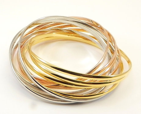 Stacking All In One 12 Set Bangle Tri-Color