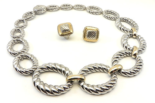 """Cable Designer Inspired Stylish Textured Links 2-Tone 18"""" Necklace & Earring Set"""