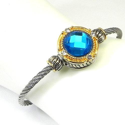 Cable Designer inspired 2-Tone & Bermuda Blue CZ Bracelet-Cuff