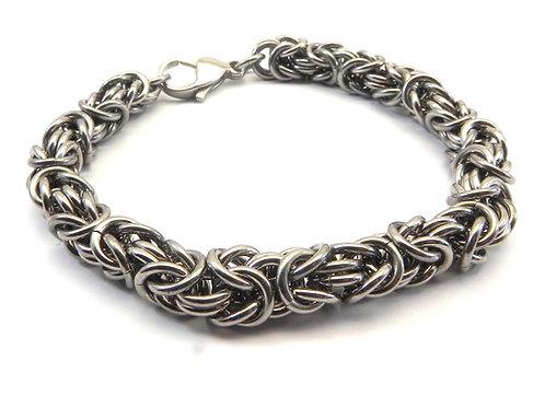 """Bali Designer Inspired Byzantine Stainless Steel Unisex Bracelet 8"""""""