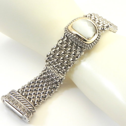 Classic Cable Designer Inspired 2-Tone Caviar Bracelet with Simulated Opal